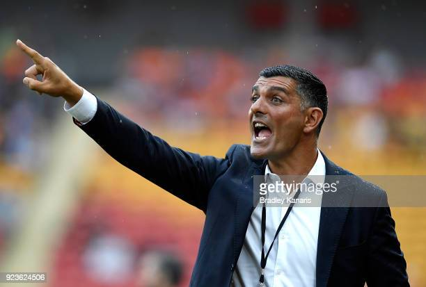 Coach John Aloisi of the Roar screams out advice to his players during the round 21 ALeague match between the Brisbane Roar and the Newcastle Jets at...