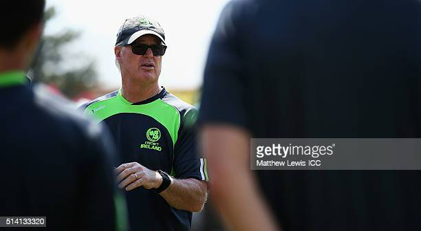 Coach John Bracewell of Ireland talks to his players during a Training Session ahead of the ICC Twenty20 World Cup at HPCA Stadium on March 7 2016 in...