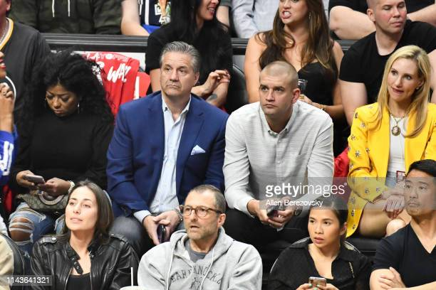 Coach John Calipari attends an NBA playoffs basketball game between the Los Angeles Clippers and the Golden State Warriors at Staples Center on April...