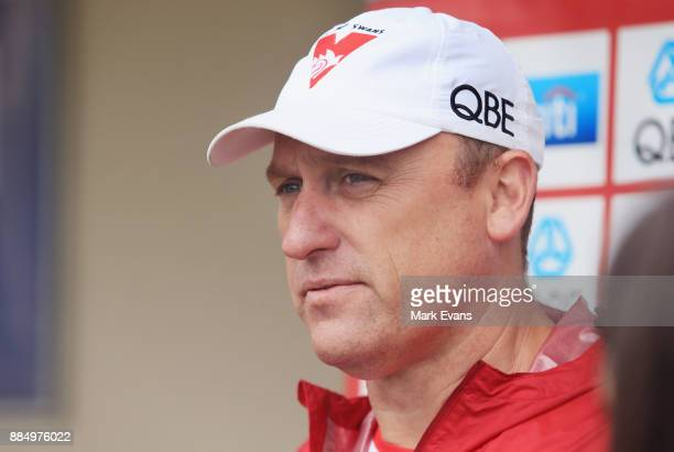 Coach John Longmire during a press conference at Sydney Swans AFL preseason training session at Weigall Sports Ground on December 4 2017 in Sydney...