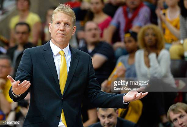 Coach John Patrick of Ludwigsburg reacts during the Beko BBL Playoffs semifinal match between MHP RIESEN Ludwigsburg and FC Bayern Muenchen on May 18...
