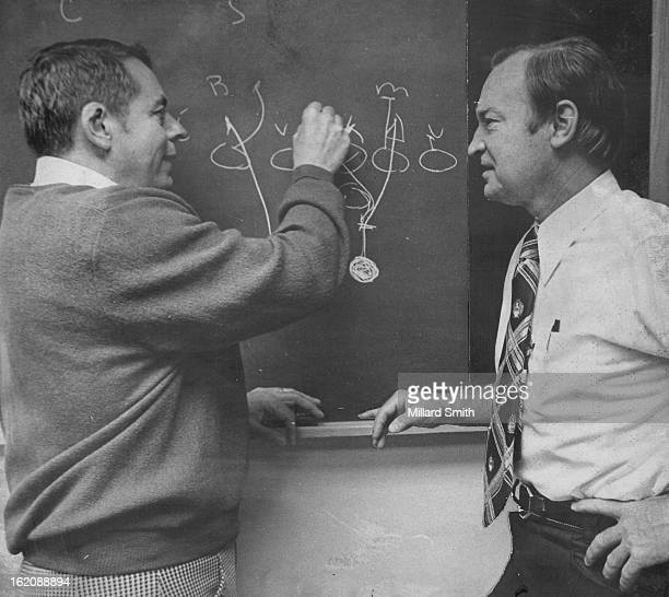COHORTS Coach John Ralston of the Denver Broncos chats with Notional football League rival Don Coryell of the St Louis Cardinals during unique...