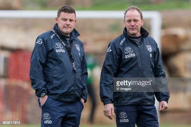 coach John Stegeman of Heracles Almelo assistent trainer Rene Kolmschot of Heracles Almelo during a training session of Heracles Almelo at the Don...