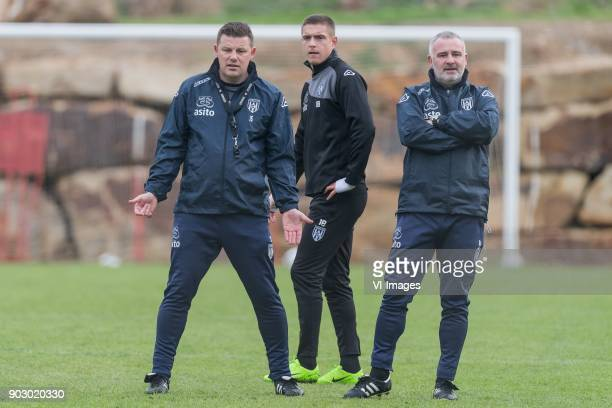 coach John Stegeman of Heracles Almelo Kristoffer Peterson of Heracles Almelo assistent trainer Rob Alflen of Heracles Almelo during a training...