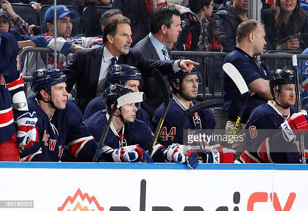 Coach John Tortorella of the New York Rangers challenges a call during the game against the Buffalo Sabres at Madison Square Garden on March 3 2013...