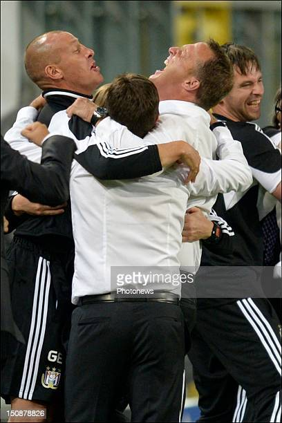 Coach John Van Den Brom of RSC Anderlecht celebrates during the third qualifying round of the UEFA Champions League return match between RSC...
