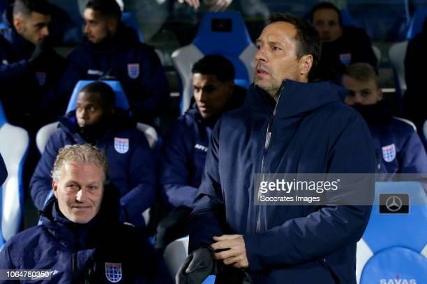 coach John van t Schip of PEC Zwolle coach Alfons Groenendijk of ADO Den Haag during the Dutch Eredivisie match between PEC Zwolle v ADO Den Haag at...