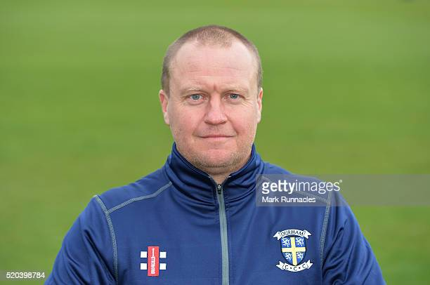 Coach Jon Lewis of Durham poses for a photograph during the Durham County Cricket Club photocall at the Riverside on April 8 2016 in ChesterLeStreet...