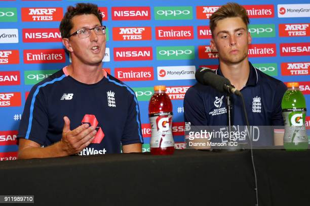Coach Jon Lewis of England and captian Will Jacks speak to media at the press conference after the ICC U19 Cricket World Cup match between New...