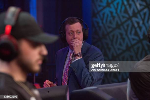 Coach Jonah Edwards of Magic Gaming reacts against Nets Gaming Club during an NBA 2K League game on April 12 2019 at the NBA 2K Studio in Long Island...