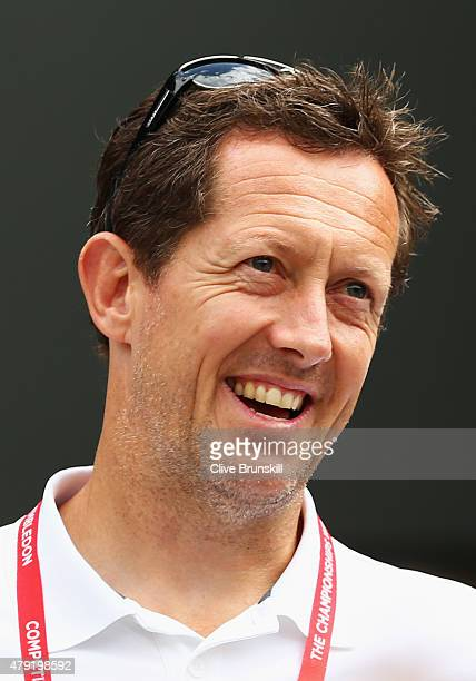 Coach Jonas Bjorkman looks on ahead of Andy Murray of Great Britain's Gentlemen's Singles second round match against Robin Haase of Netherlands...