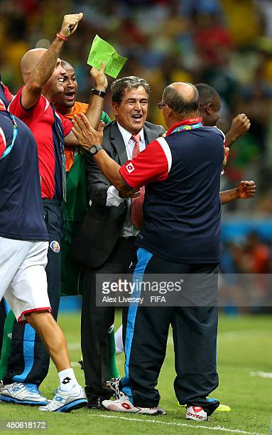 Coach Jorge Luis Pinto of Costa Rica celebrates during the 2014 FIFA World Cup Brazil Group D match between Uruguay and Costa Rica at Estadio...