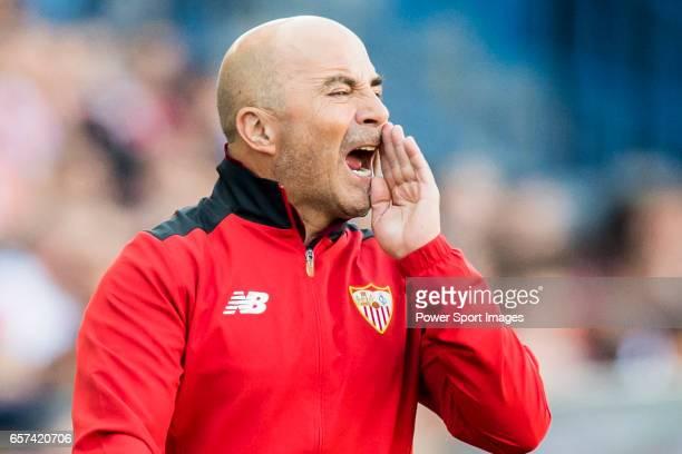Coach Jorge Luis Sampaoli of Sevilla FC reacts during their La Liga match between Atletico de Madrid and Sevilla FC at the Estadio Vicente Calderon...