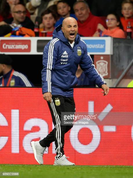 coach Jorge Sampaoli of Argentina during the International Friendly match between Spain v Argentina at the Estadio Wanda Metropolitano on March 27...