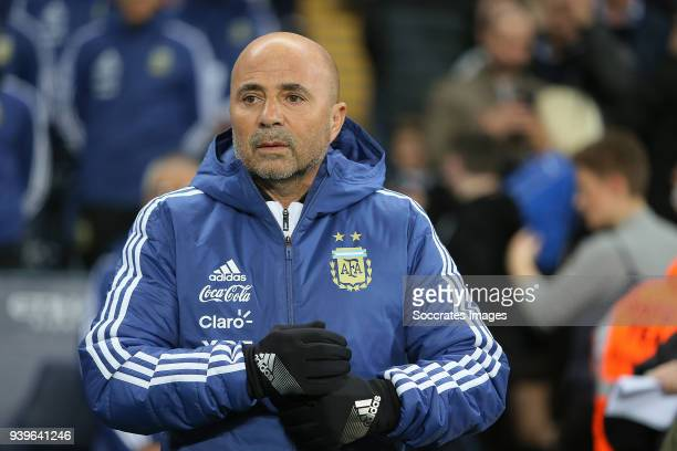 coach Jorge Sampaoli of Argentina during the International Friendly match between Italy v Argentina at the Etihad Stadium on March 23 2018 in...