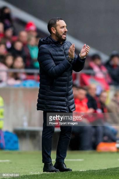 Coach Jose Bordalas Jimenez of Getafe CF reacts during the La Liga 201718 match between Atletico de Madrid and Getafe CF at Wanda Metropolitano on...