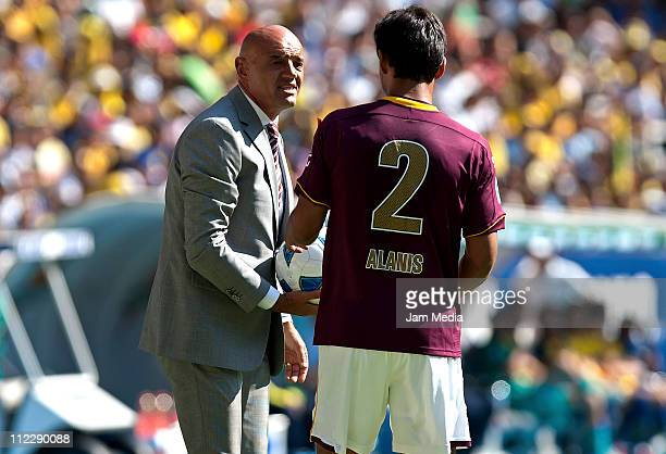 Coach Jose Luis Sanchez of Estudiantes and Oswaldo Alanis during a match as part of the Clausura Tournament 2011 at Jalisco Stadium on April 17 2011...