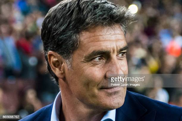 Coach Jose Miguel Gonzalez Martin del Campo Michel of Malaga CF prior to the La Liga 201718 match between FC Barcelona and Malaga CF at Camp Nou on...