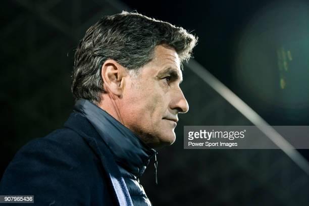 Coach Jose Miguel Gonzalez Martin del Campo Michel of Malaga CF prior to the La Liga 201718 match between Getafe CF and Malaga CF at Coliseum Alfonso...