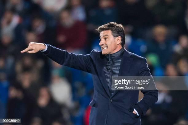 Coach Jose Miguel Gonzalez Martin del Campo Michel of Malaga CF gestures during the La Liga 201718 match between Getafe CF and Malaga CF at Coliseum...