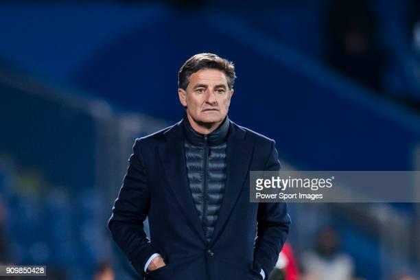 Coach Jose Miguel Gonzalez Martin del Campo Michel of Malaga CF reacts during the La Liga 201718 match between Getafe CF and Malaga CF at Coliseum...