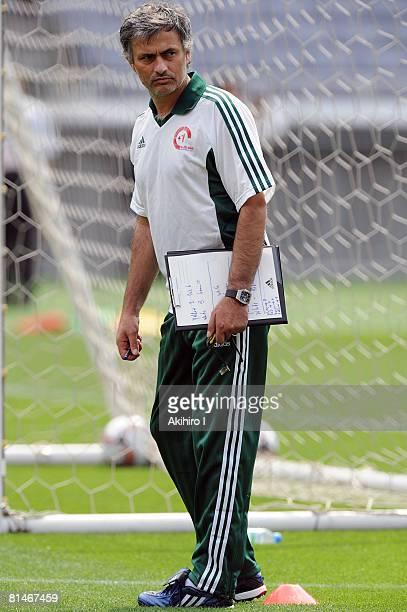 Coach Jose Mourinho looks on during a training session ahead of the 1 football match at Nissan Stadium on June 6 2008 in Yokohama Kanagawa Japan The...
