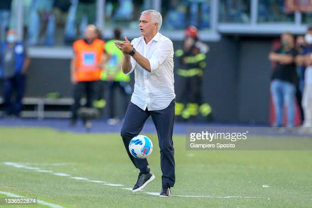 Coach Jose Mourinho of AS Roma gives instructions during the UEFA Conference League Play-Offs Leg Two match between AS Roma and Trabzonspor at...