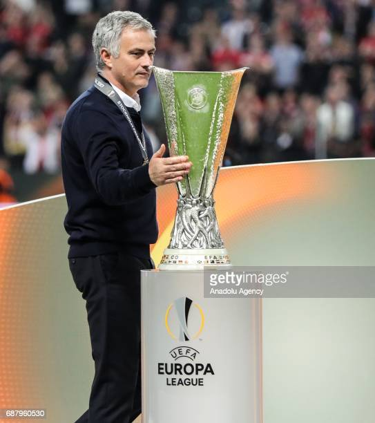 Coach Jose Mourinho of Manchester United celebrates with a trophy after the UEFA Europa League Final match between Ajax and Manchester United at...