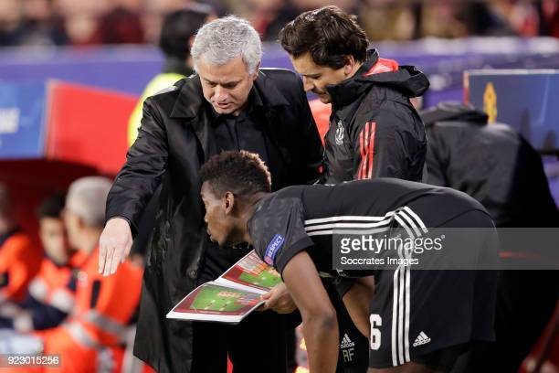 coach Jose Mourinho of Manchester United Paul Pogba of Manchester United during the UEFA Champions League match between Sevilla v Manchester United...