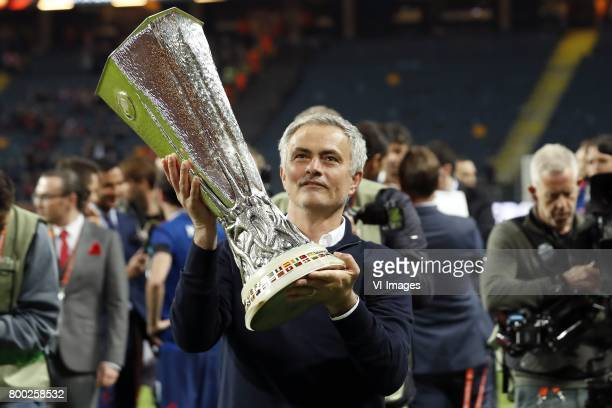 coach Jose Mourinho of Manchester United with the Coupe UEFA the UEFA cup the Europa League trophyduring the UEFA Europa League final match between...