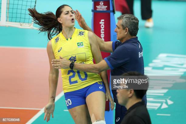 Coach Jose Roberto Lages Guimaraes of Brazil cheers with Ana Beatriz Correa of Brazil during the final match between Brazil and Italy during 2017...