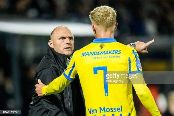 Coach Joseph Oosting of RKC Waalwijk and Jens Odgaard of RKC Waalwijk during the Dutch Eredivisie match between RKC Waalwijk and Willem II at...