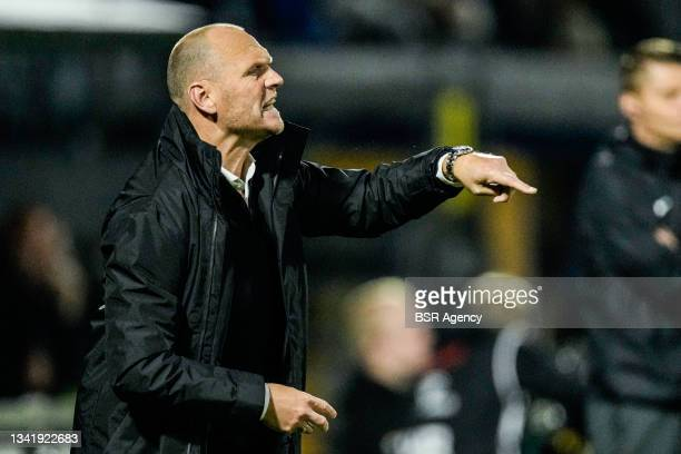 Coach Joseph Oosting of RKC Waalwijk coaches his players during the Dutch Eredivisie match between RKC Waalwijk and Willem II at Mandemakers Stadion...