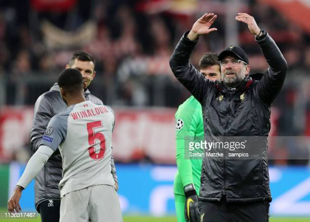 Coach Jürgen Klopp FC Liverpool during the UEFA Champions League Round of 16 Second Leg match between FC Bayern Muenchen and Liverpool at Allianz...