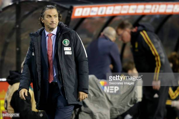 coach Juan Antonio Pizzi of Saudi Arabia during the International Friendly match between Belgium v Saudi Arabia at the Koning Boudewijnstadion on...