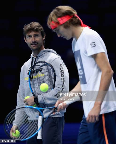 Coach Juan Carlos Ferrero and Alexander Zverev of Germany during a training session prior to the Nitto ATP World Tour Finals at O2 Arena on November...