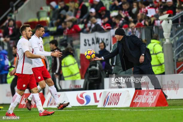 Coach Juan Carlos Osorio Maciej Rybus Jaroslaw Jach during the International Friendly match between Poland and Mexico at Energa Stadium in Gdansk...