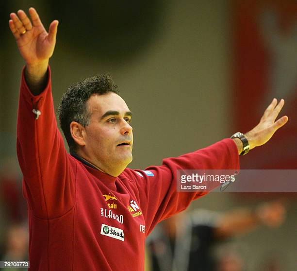 Coach Juan Carlos Pastor of Spain gestures during the Men's Handball European Championship main round Group II match between Spain and Sweden at...