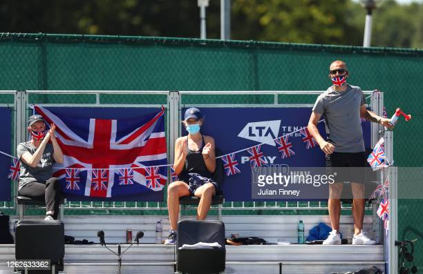 Coach Judy Murray Katie Boulter and Dan Evans of Union Jacks react during day four of the St James's Place Battle Of The Brits Team Tennis at...
