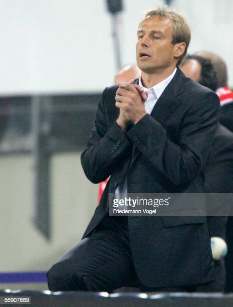 Coach Juergen Klinsmann of Germany during the friendly game between Germany and China at the AOL Arena on October 12, 2005 in Hamburg, Germany.