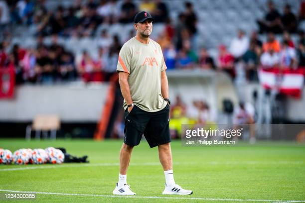 Coach Juergen Klopp of FC Liverpool before the friendly match between Hertha BSC and FC Liverpool at Tivoli Stadion on July 29, 2021 in Innsbruck,...
