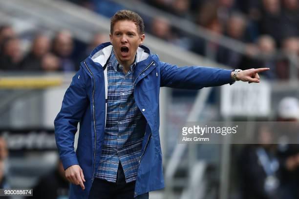 Coach Julian Nagelsmann of Hoffenheim points and gestures during the Bundesliga match between TSG 1899 Hoffenheim and VfL Wolfsburg at Wirsol...