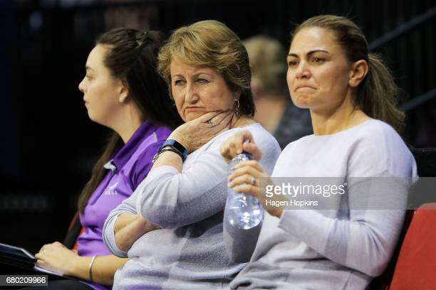 Coach Julie Hoornweg and assistant coach Temepara Bailey of the Stars look on during the New Zealand Premiership match between the Pulse and the...
