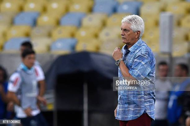 Coach Julio Comesana Lopez of Colombia's Junior de Barranquilla stands on the sidelines during a Copa Sudamericana 1st leg Semi Final soccer match...