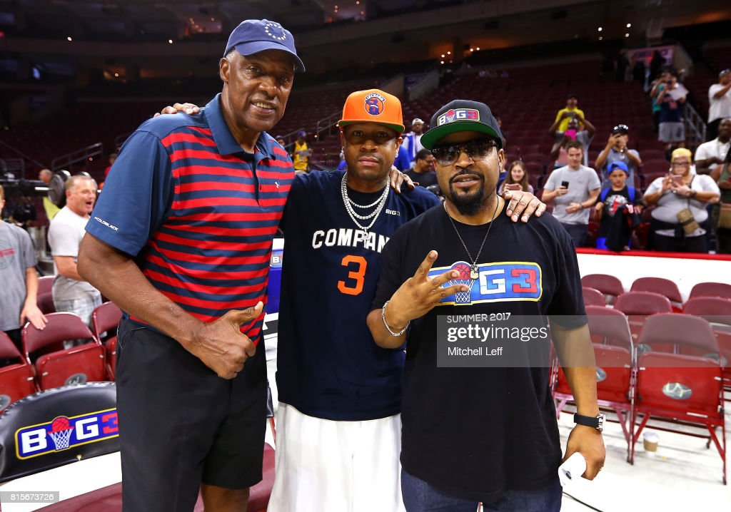 Coach Julius 'Dr. J' Erving of Tri-State, Allen Iverson #3 of 3's Company and founder Ice Cube pose during week four of the BIG3 three on three basketball league at Wells Fargo Center on July 16, 2017 in Philadelphia, Pennsylvania.