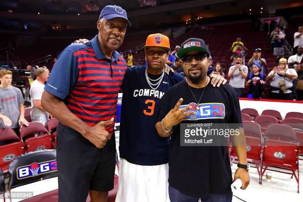 Coach Julius 'Dr J' Erving of TriState Allen Iverson of 3's Company and founder Ice Cube pose during week four of the BIG3 three on three basketball...
