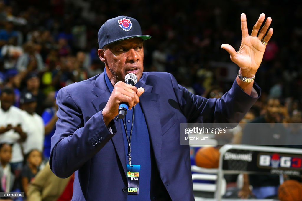 Coach Julius 'Dr. J' Erving of Tri-State speaks to the fans during week four of the BIG3 three on three basketball league at Wells Fargo Center on July 16, 2017 in Philadelphia, Pennsylvania.