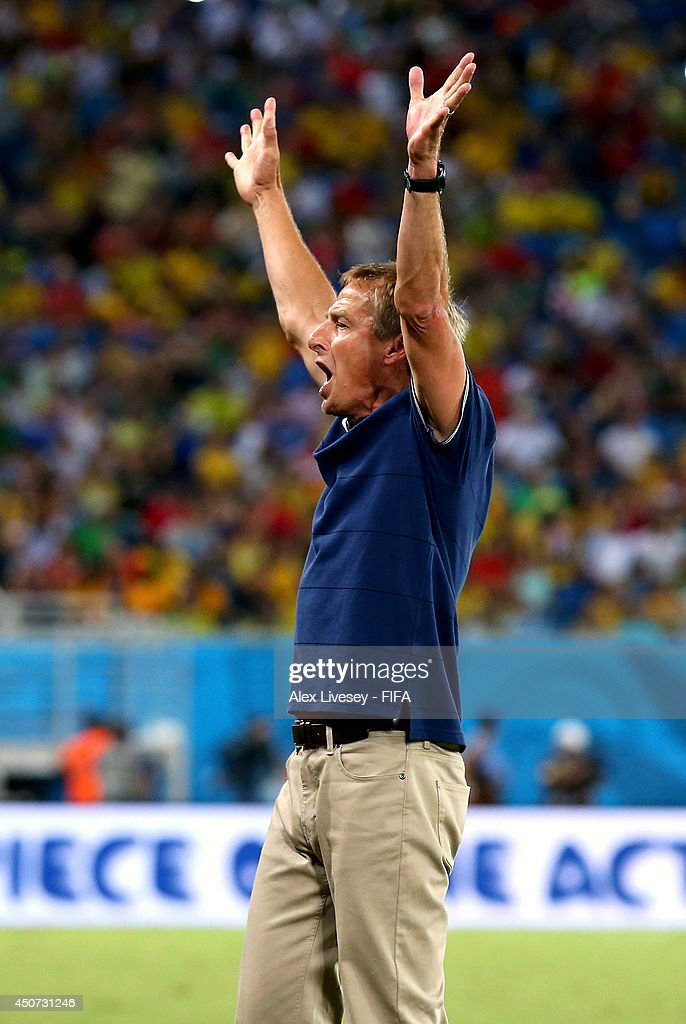 Coach Jurgen Klinsmann of the United States celebrates after the 2014 FIFA World Cup Brazil Group G match between Ghana and USA at Estadio das Dunas on June 16, 2014 in Natal, Brazil.