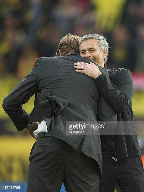 coach Jurgen Klopp of Borussia Dortmund coach Jose Mourinho of Real Madrid during the UEFA Champions League match between Borussia Dortmund and Real...