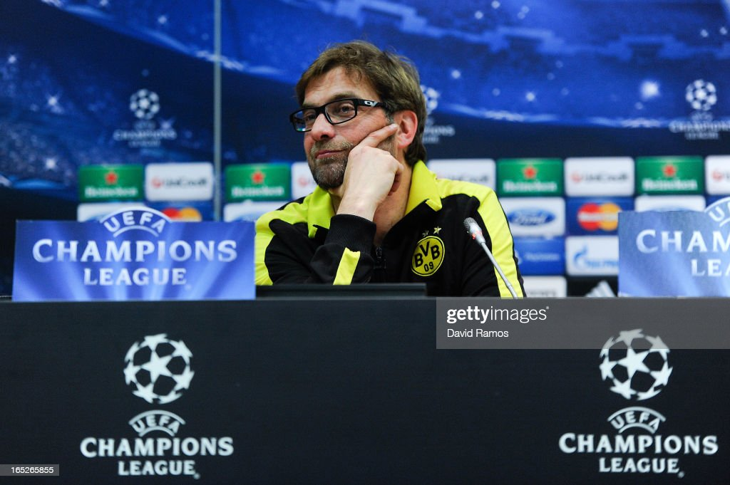 Coach Jurgen Klopp of Borussia Dortmund faces the media during a press conference ahead of the UEFA Champions League quarter-final first leg match against Malaga CF at La Rosaleda Stadium on April 2, 2013 in Malaga, Spain.
